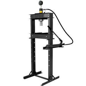 20 Ton Shop Press With Hand Pump Pressure Gauge H frame Hydraulic Equipment 41