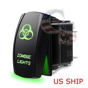 Green Laser Etched Led Zombie 12v 20a 10a 5 Pin Rocker Toggle Switch Car Boat