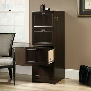 Tall 4 Drawer Cinnamon Cherry Finished Executive File Cabinet With Lock