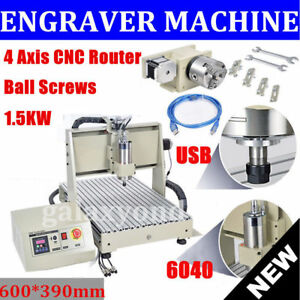 Usb 4 Axis Cnc Router Machine 6040 3d Engraver Milling 1 5kw Medal Woodworking