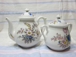 Antique Limoges Set Of Tea Pot And Sugar Jar And Serving Plate In Limoges Style