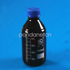 1000ml Amber Brown Glass Reagent Bottle Plastic Cap 1l Blue Lid Graduation 800ml