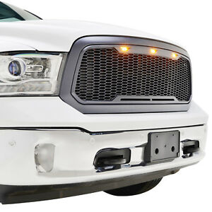 13 18 Ram 1500 Mesh Grille Grill Raptor Style W Amber Led Light Abs Gray Front