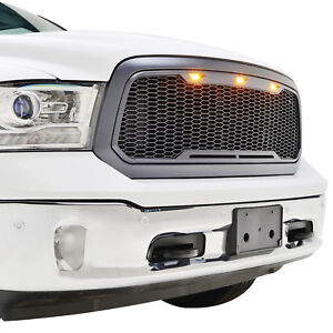 13 18 Ram 1500 Front Grille Raptor Style W Amber Led Light Abs Mesh Gray Grill
