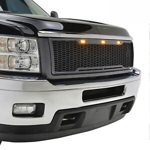 2011 2014 Chevy Silverado 2500 3500 Mesh Grille Grill W led Light Raptor Style