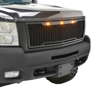 07 10 Silverado 2500 3500 Hd Mesh Grill Grille Raptor Abs With Led Lights