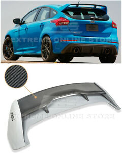 For 13 Up Ford Focus Hatchback Rs Style Carbon Fiber Rear Roof Wing Spoiler Lip