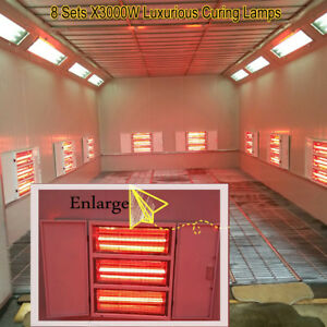 8x3kw Luxurious Spray Baking Booth Infrared Paint Curing Lamps Heating Lights