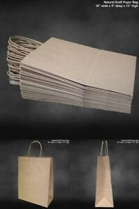 100 Pcs 10 X 5 X 13 Retail Shopping Craft Gift Bags Brown Paper With Handles Us