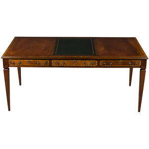 New Antique Style Large Mahogany Writing Table Desk On Legs Home Office Wood