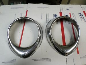 Vintage Electroline Chrome Bezels 1937 40 Ford Pair Restore Or Customize H13 14