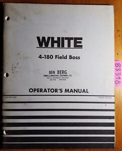 Wfe White 4 180 Field Boss Tractor Owner s Operator s Manual 432 414a 4 76