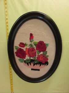 Vintage Oval Shape Wooden Framed Picture Wall Hanging