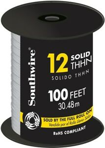 Southwire 100 Ft 12 Gauge White Solid Cu Thhn Single Conductor Electrical Wire