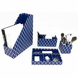 Blu Monaco Blue Desk Organizer 4 Piece Accessories Set Letter Mail Organizer