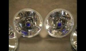 5 3 4 Universal Blue Dot Tri Bar Headlights Pair Ford Chevy Dodge Plymouth