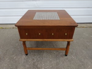 Vintage Mid Century Danish Modern 1960s Lane Walnut Tile Top End Table W Drawer