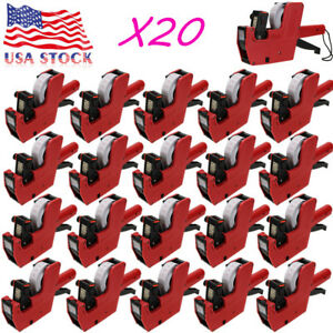 Lot 20 Mx 5500 8 Digits Price Tag Gun 200 White With Red Lines Labels Ink