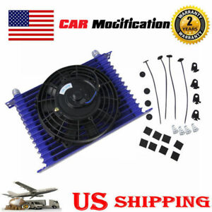 Universal 15 Row 10an Racing Engine Transmission Oil Cooler 7 Electric Fan Kit