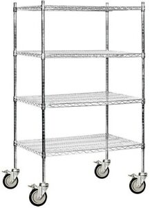 Industrial Mobile Chrome Wire Shelving 36 X69 X 24 Hospital Restaurant Garage