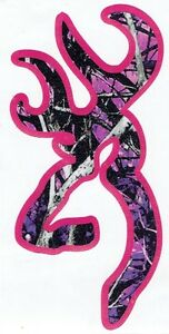 Muddy Girl Camo Browning Buck Decal With Pink Backround 5 Tall
