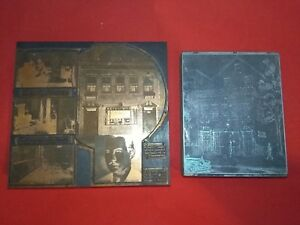 2 Vintage Wood Copper Lead Letterpress Printing Plates Blocks Advertising