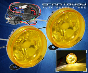 Universal 3 5 Driving Yellow Glass Lens Fog Lights Lamps Kit Wiring Switch