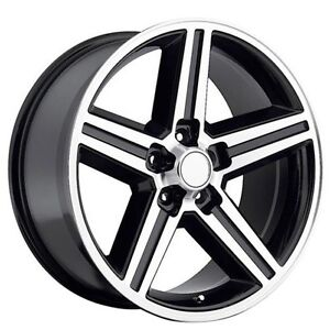 20 Iroc Wheels Black Machined 5 Lugs Rims And Tires Package