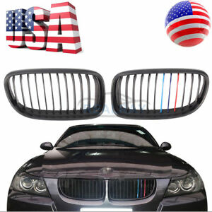 Matte Black Front M Tri Color Grill Grille For 09 11 Bmw E90 Lci 323i 328i 335i