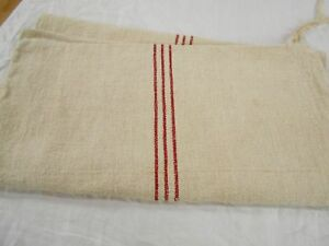 20x43 Vtg Antique 3 Red Stripes European Hemp Linen Fabric Feed Sack Grain Bag