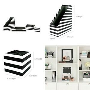 Striped Desk Organizer Decorative Storage Box Set Home Office Supplies Holder
