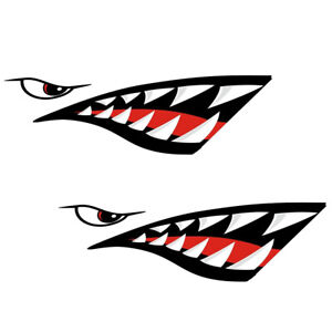 2 X Shark Mouth Decals Sticker Fishing Boat Canoe Kayak Graphics Accessories