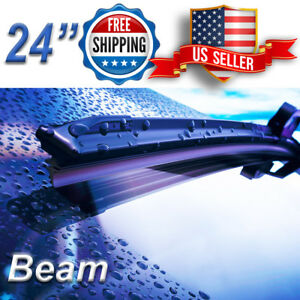 24 Inch Wiper Blades All Season Bracketless Windshield J Hook Beam Style