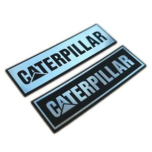 Two 2 X Caterpillar Metallic Aluminium Stickers 70 Mm X 20 Mm