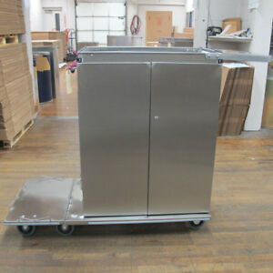 Royce Rolls Stainless Steel Double Door Cabinet Cart with Bag