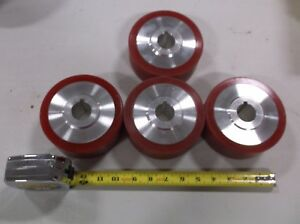 5 X 2 Caster Wheel Rubber On Aluminum 1 3 16 Bore Lot Of 4