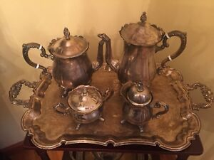 Vintage Leonard Silverplate Coffee And Tea Service With Serving Tray