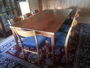 Mid Century Danish Teak Dining Room Extention Table And 8 Chairs