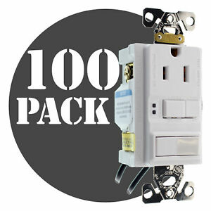 Hubbell Gfspst15wz Combo Gfci Outlet 1p Switch 15a 120v White 100 pack