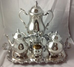 Fb Rogers Silver Plate 7 Pc Tea Coffee Rare Samovar Sugar Creamer Tray Service