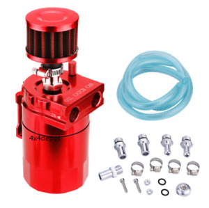 Red Universal Aluminum Oil Catch Tank Cylinder Reservoir Car Can Breather Kit