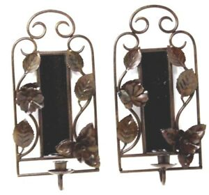 Pair Vintage Wrought Iron Wall Mirror Sconces Candle Holders Decor