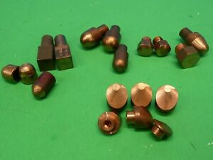 Lot Of 18 Copper Spot Welding Electrode Caps 5 Different Types Press Screw On