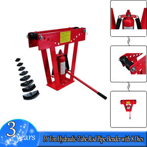 16 Tons Hydraulic Tube Rod Pipe Bender With 8 Dies Heavy Duty Extra Power Red