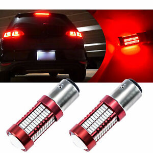 2 Pcs Red 1156 7506 Ba15s 106 Smd Backup Reverse Side Marker Led Lights Bulbs