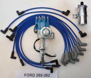 Small Block Ford 289 302 Blue Small Hei Distributor Chrome Coil Plug Wires