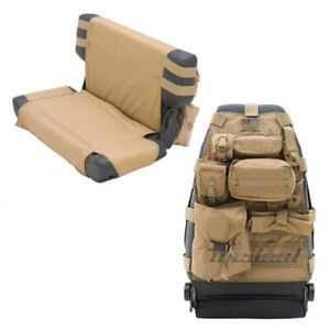 Smittybilt Coyote Tan Front Pair Rear Seat Covers 76 06 Jeep Cj Yj Tj Lj