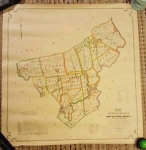 Fantastic 1930 Colored Map Of The Public Roads In Northampton County Pa