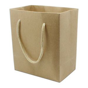 Brown Kraft Paper Bag With Rope Handle Gift Clothes Packing Pouch Shopping Use