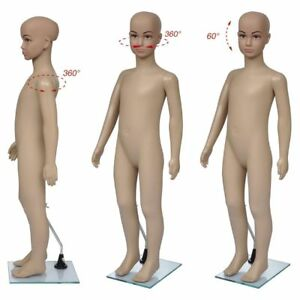 Full Body Child Mannequin Realistic Shop Display Head Turns Dress Form With Base